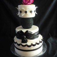Black And White Cake This is a cake I did for the fair. Trying new things. First time doing a peony. Thanks for looking.