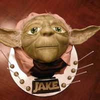 "Yoda 8"" cake - Yoda is 1/2 of the Wilton ball pan, carved and covered in fondant and modeling chocolate. Isomalt for the hair."