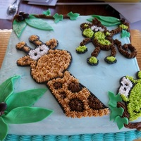 Jungle Animals Baby Shower Cake Buttercream frosted, decorations done with buttercream and fondant/gumpaste combination. coconuts are M & M's