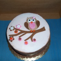 Owl Baby Girl Shower Cake Buttercream frosted design done in fondant/gumpaste combination.