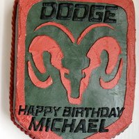Dodge Logo   All buttercream with RI transfer letters.