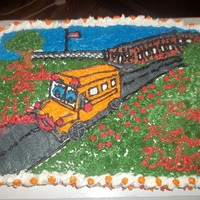 Bus Driver Retirement Made this for a retirement party for a woman who drove a school bus for 41 yrs. the cake was made with soda and used a citrus flavored...