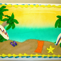 Beach Scene 1/2 sheet all buttercream