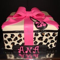 "Cheetah And Hot Pink Gift Box 10"" square 3 layer gift box, fondant covered"