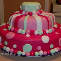 Pink Polka Dot And Striped 1St Birthday