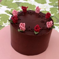 "Chocolate Cake   Chocolate ganached 6"" cake with gum paste roses."