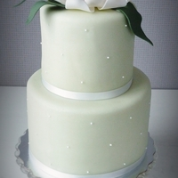 Baby Cake 4inch and 6inch cakes in pale green with a magnolia baby on top.