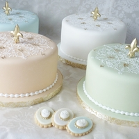 Pastel Cakes  Four 8 inch pastel cakes with stenciling (Designer Stencils, Winterthur Medallion) and fleur de lis on top.Also I made a bunch of matching...