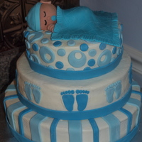 Boy Baby Shower Cake Buttercream with MMF decorations
