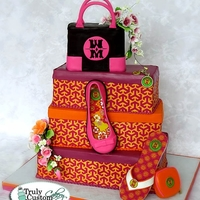 Shoe Box Themed Bat Mitzvah Cake Tory Burch themed shoe cake. Ballet shoe and flip flip are completely edible original designs. I don't have a pattern or tutorial...