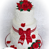Red Roses And White Lace Red Roses theme 50th Birthday Cake