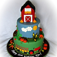 The Farmer In The Dell... Farm/Garden theme cake for an older gentleman that likes to.... FARM