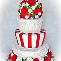 Sweet Sixteen Red & White Theme with lace, stripes and roses