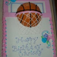 Girly Basketball Cake My daughter wanted a basketball cake but wanted it to look really girly.