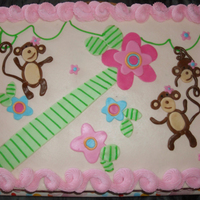 Melanie Monkey Baby Shower All buttercream with fondant accents. Melanie monkey to match crib bedding at JC Penney.