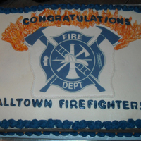 Hall Town Fire Department This was a huge cake. Edible image logo, buttercream flames and frosting. Fondant lettering.