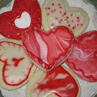 Valentine Cookies Sour cream sugar cookies with cookie icing and disco. Just for fun.