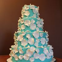 Teal With White Rose Petals