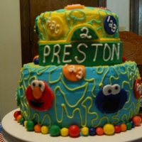 Sesame Street Birthday   9 inch bottom and 6 inch top, buttercream with fondant accents. All free hand characters which caused lots of sleepless nights :)