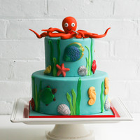 "Under The Sea Two tiers (6"", 8"") covered in fondant. Hand-crafted octopus."