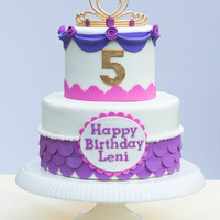 Pink And Purple Princess Cake With Edible Tiara Pink and purple princess cake with edible tiara.