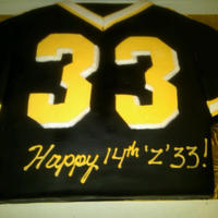 Hs Football Jersey  A jersey cake for the football star! Marble half sheet cake cut and shaped to make a jersey. covered in fondant with fondant and...