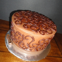 """black & White"" Cake Black and white cake - layers of chocolate and white cake with ganache filling and chocolate buttercream with ganache scroll work - a..."