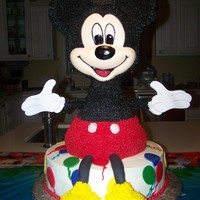 Mickey Mouse Birthday Cake I made this for my son's 2nd birthday. The bottom layer is vanilla WASC. The body is chocolate fudge WASC. The face is made of white...