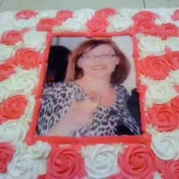 Pink And White Roses Memorial Cake