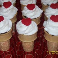 Ice Cream Cone Cupcakes Choc. fudge cake with buttercream icing and a heart gummy candy. Made for my son's Kindergarten class. They were a huge hit!