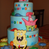 Spongebob Birthday Cake   Fondant figures on a dummy cake.
