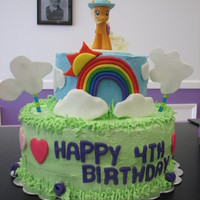 My Little Pony Cake My little pony cake with rainbow and clouds.