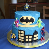 Batman Cake Buttercream icing with fondant accents. Batman cake for my 6 year old.