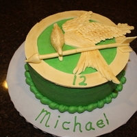 Hunger Games Birthday Cake For my son's 12th birthday. Didn't want to eat anything black, so went with a green background instead. 50/50 fondant/gumpaste...