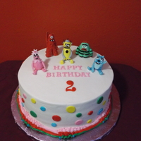 Yo Gabba Gabba for a two yr old boy,strawberry cake w/strawberry filling,iced in buttercream,and figures are gumpaste.did a smash cake also.tfl