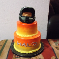 Mike's Halo Birthday Cake wasc cake,iced in buttercream.rkt helmet,covered in fondant tlf