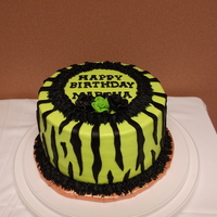 Zebra Print Birthday Cake choc cake w/cookies & cream filling, iced in buttercream and fondant stripes and ribbon roses. tfl