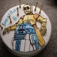 Star Wars Birthday Cake  This was quite simple to do for my son who is a star wars fan. I made a template and cut out the icing shapes then piped in the detail....