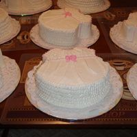 Baby's Dress 8 butter cakes w/ buttercream filling and frosting shaped like baby girl dresses.The mom to be wanted 1 cake in each table, to act as the...