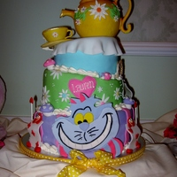 Alice In Wonderland Alice in Wonderland themed bridal shower. Cake was made using Fat Daddio's Mad Dadder pans and then covered in fondant. Teapot is a...