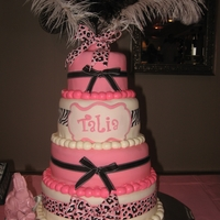 French Circus Baby Shower Cake Pink & White French circus baby shower cake. Ribbons are NOT edible