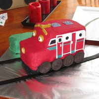Chuggington - Wilson Cake I made this cake for my friends Son's 1st Birthday. He loves Chuggington and a Wilson cake was requested. This is it. The cake is iced...