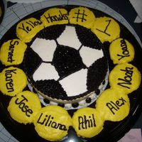 "Soccer Team Cupcake Platter This is a cupcake platter for a kid's soccer team. The ""soccer ball"" is 8' WASC and the cupcakes are marble with each..."