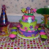 Dora This is a 10' Double 8', 6' strawberry cake covered in Fondant with fondant decorations.