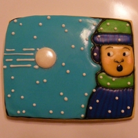 Snowball Fight! Large sugar cookie with icing glaze.