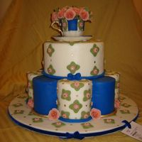 Rose Tea Dummy cake for State Fair, all gumpaste/fondant, inspired by Royal Doultons Royal Albert Anniversary Collection.