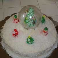 Snowglobe Coconut,cake,bc icing,snowglobe,candy tree,candy ring pops