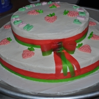 Strawberry Shortcake's Hat marble cake,white cake,bc icing,fondant letters & rollup candy for ribbon and bow