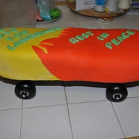 Skateboard-A Memorial Cake For My Cousin Who Died Tragically chocolate cake,bc icing,fondant