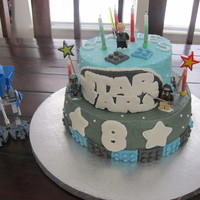 Lego Star Wars   Lego Star Wars, buttercream with fondant details (legos, number 8, Star Wars logo)